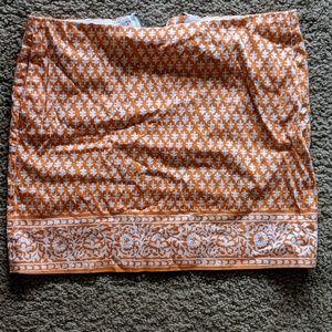 J Crew Orange Printed Skirt